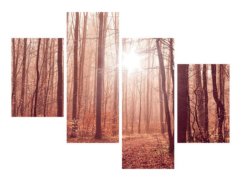 Modern 4 Piece Self-Adhesive Poster Sunset In Autumn Forest