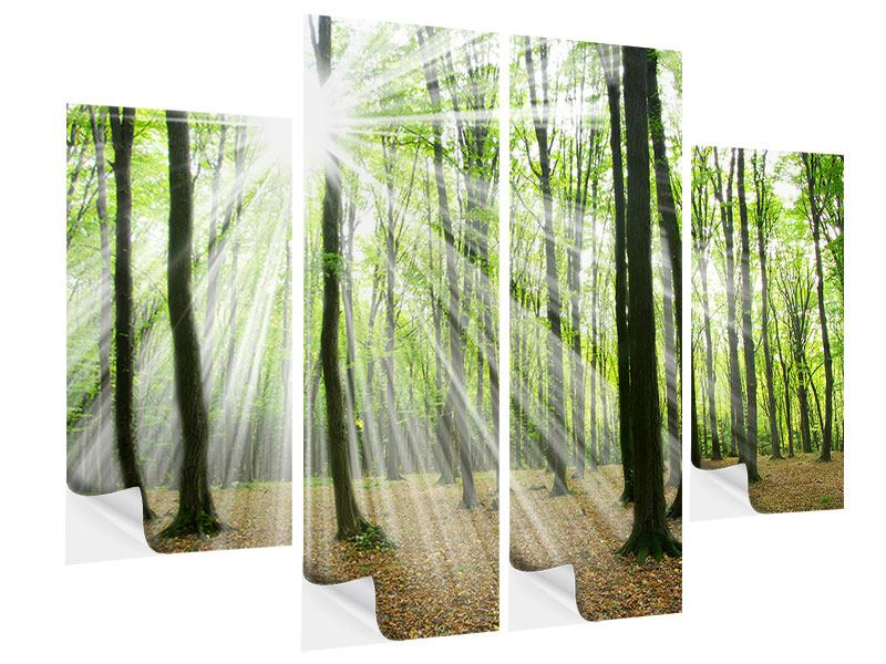 4 Piece Self-Adhesive Poster Magic Light In The Trees