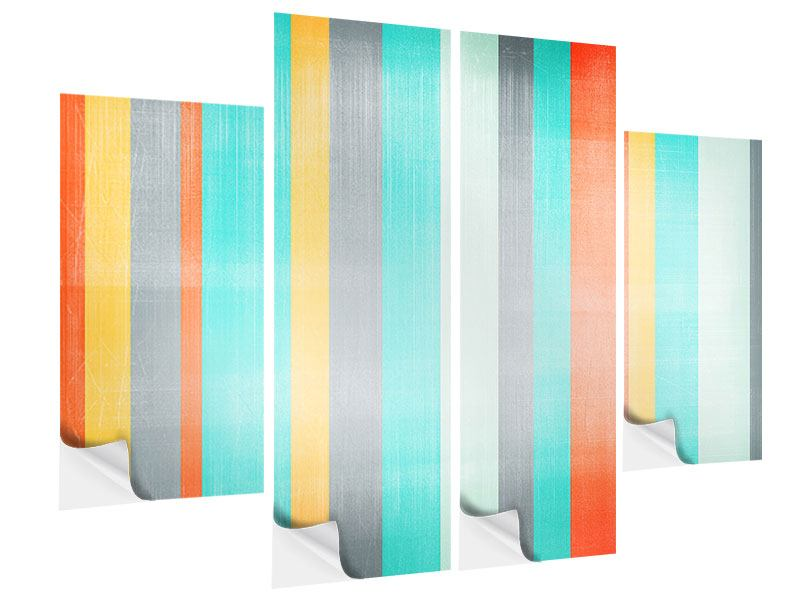 4 Piece Self-Adhesive Poster Grunge Stripes