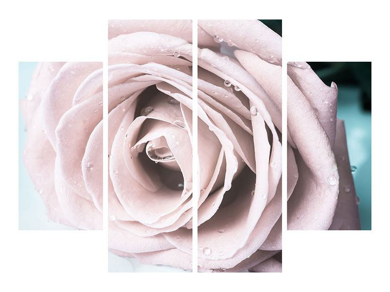 4 Piece Self-Adhesive Poster Pastel Rose