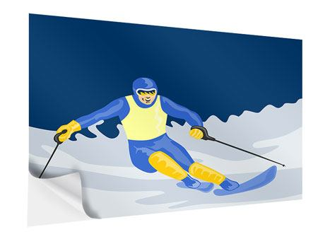 Self-Adhesive Poster Skier In Retro Style
