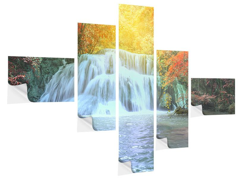 Modern 5 Piece Self-Adhesive Poster Waterfall In Light
