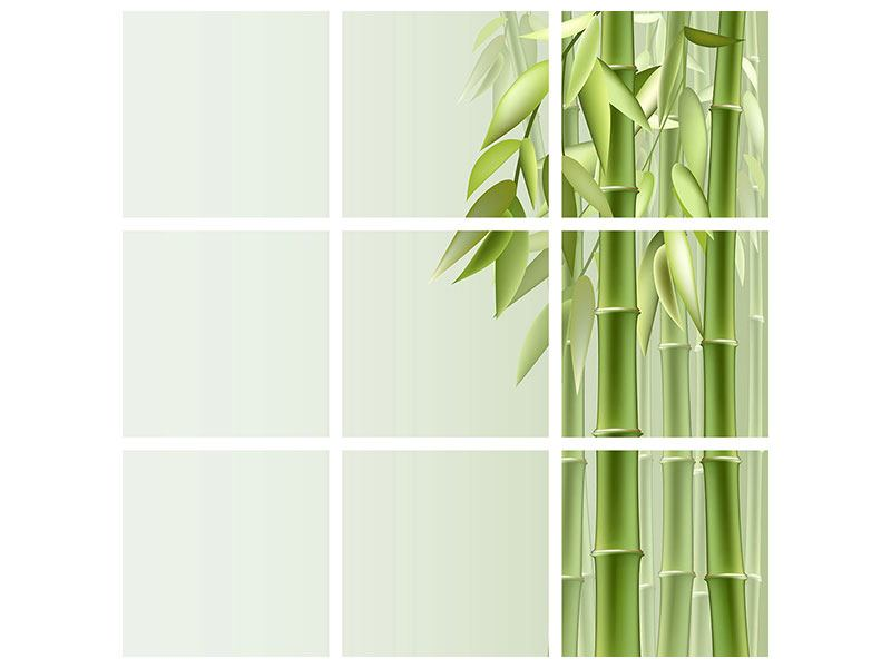 9 Piece Self-Adhesive Poster Green Bamboo