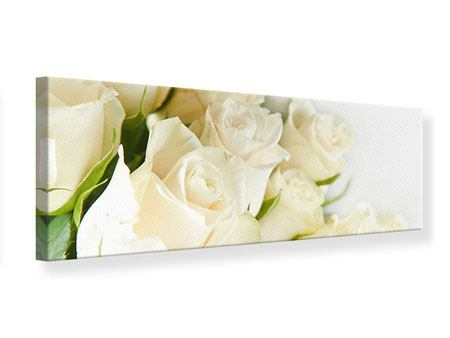 Panoramic Canvas Print White Roses