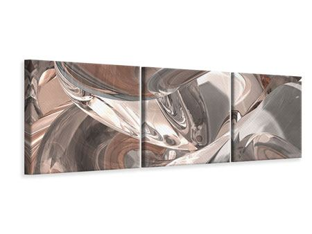 Panoramic 3 Piece Canvas Print Abstract Glass Tiles