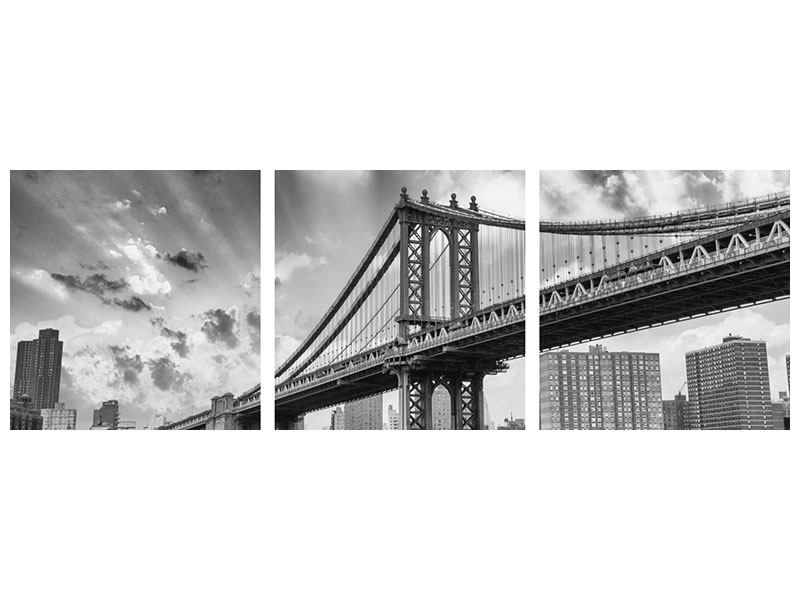 Panorama Leinwandbild 3-teilig Manhattan Bridge