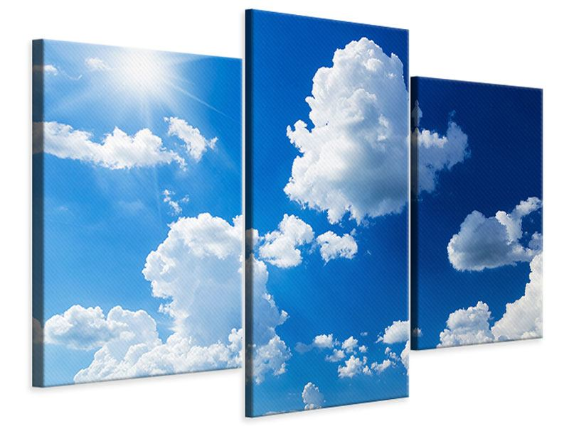 Modern 3 Piece Canvas Print Sky-Blue