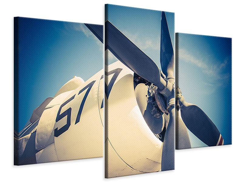 Modern 3 Piece Canvas Print Close Up Propeller Plane