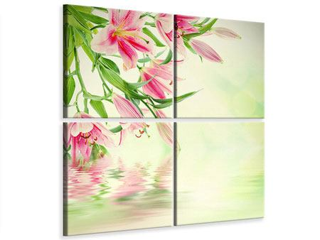 4 Piece Canvas Print Lilies On Water