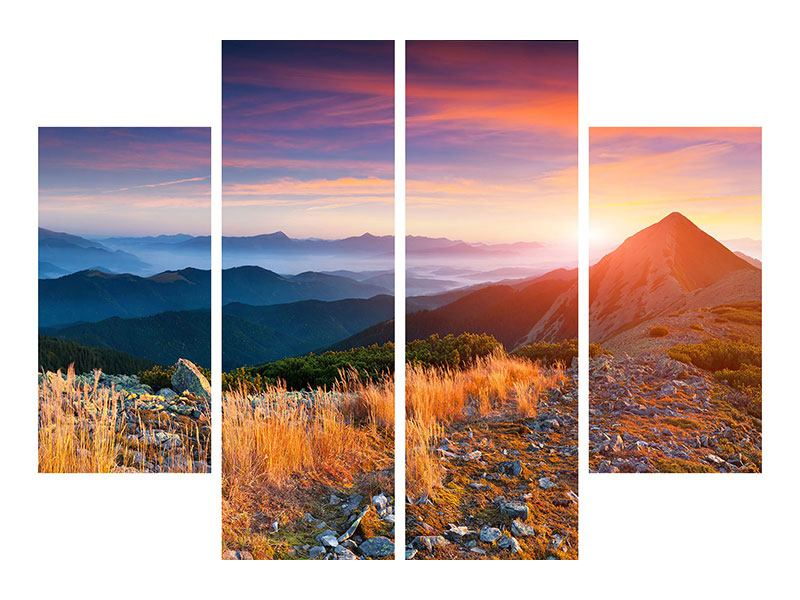 4 Piece Canvas Print Sunset In The Alps