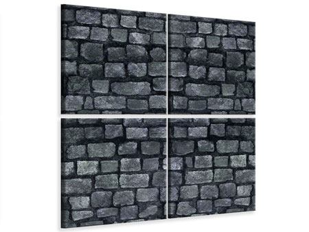 4 Piece Canvas Print Grey Stone Wall