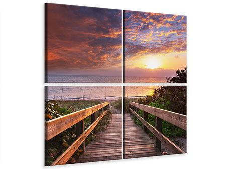 4 Piece Canvas Print Beautiful Sunset