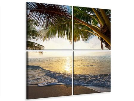 4 Piece Canvas Print Beach View