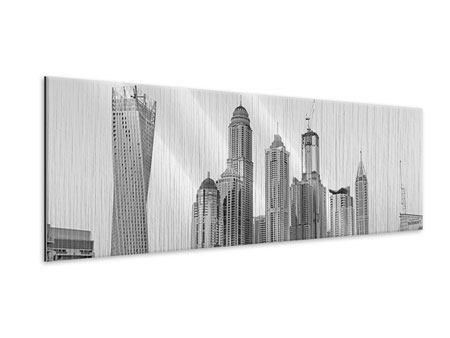 Panoramic Metallic Print Majestic Skyscrapers In Dubai