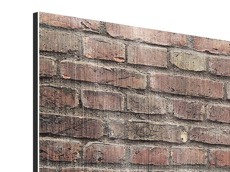 Panoramic Metallic Print Brown Brick Wall