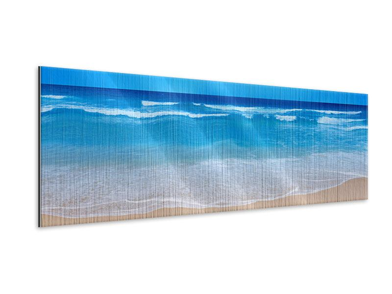 Panoramic Metallic Print Gentle Beach Waves