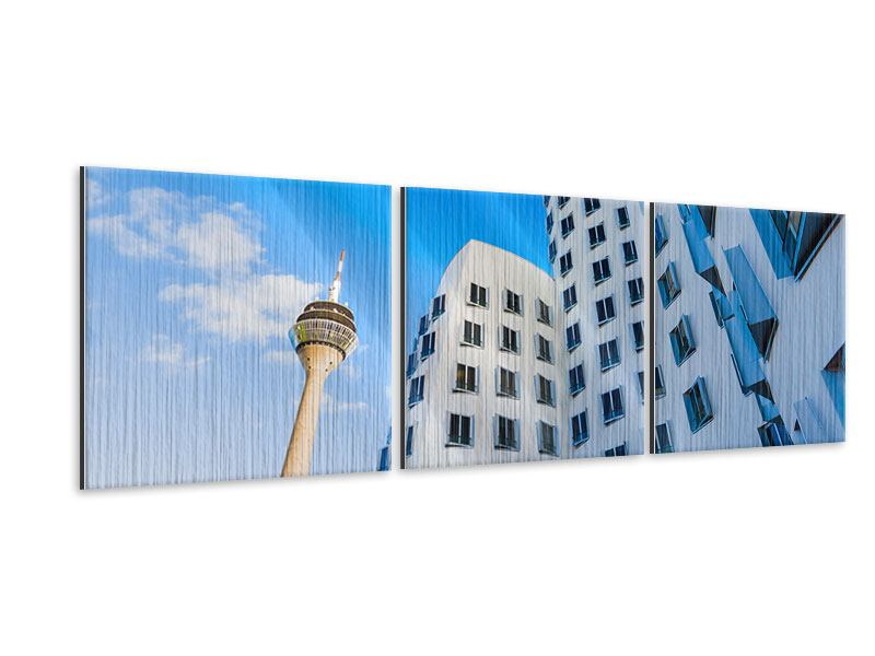 Panoramic 3 Piece Metallic Print Zollhof Düsseldorf