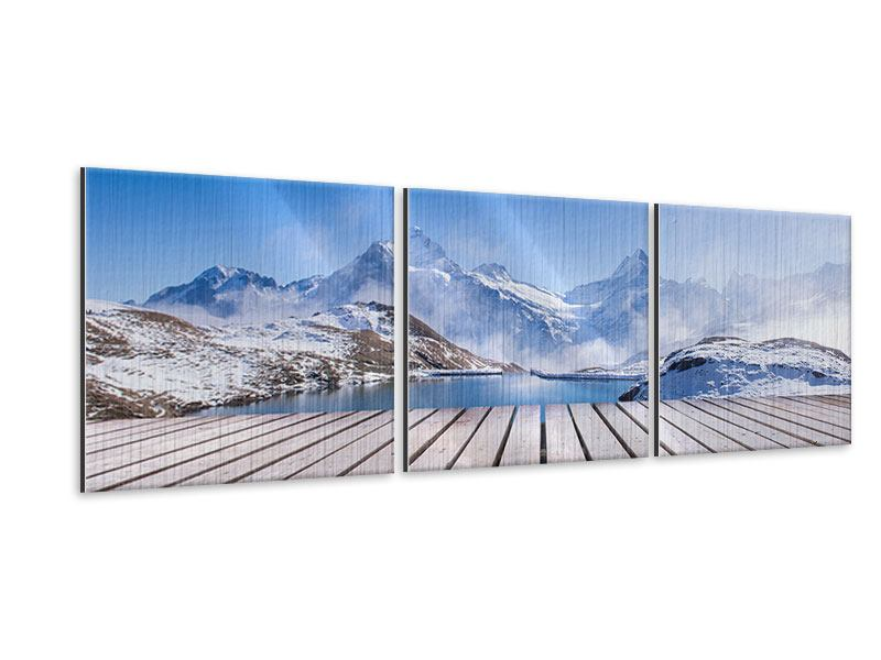 Panoramic 3 Piece Metallic Print Sundeck At The Swiss Mountain Lake