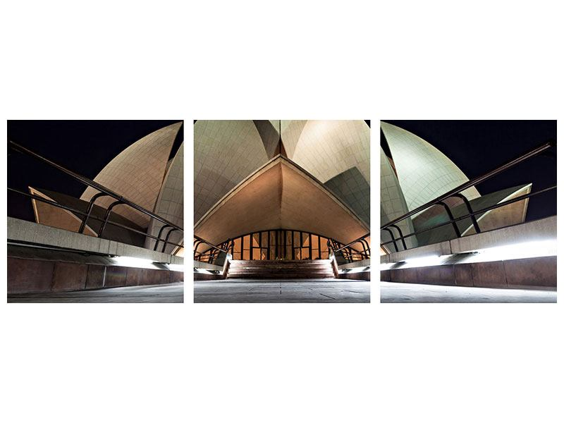 Panoramic 3 Piece Metallic Print The Lotus Temple