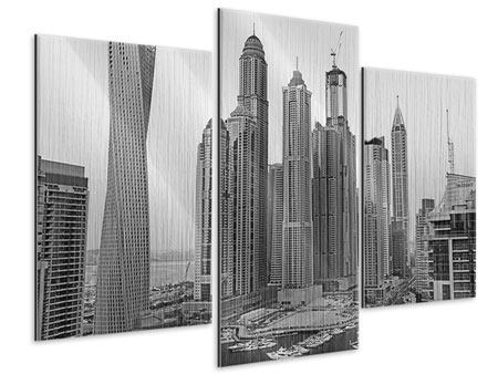 Modern 3 Piece Metallic Print Majestic Skyscrapers In Dubai