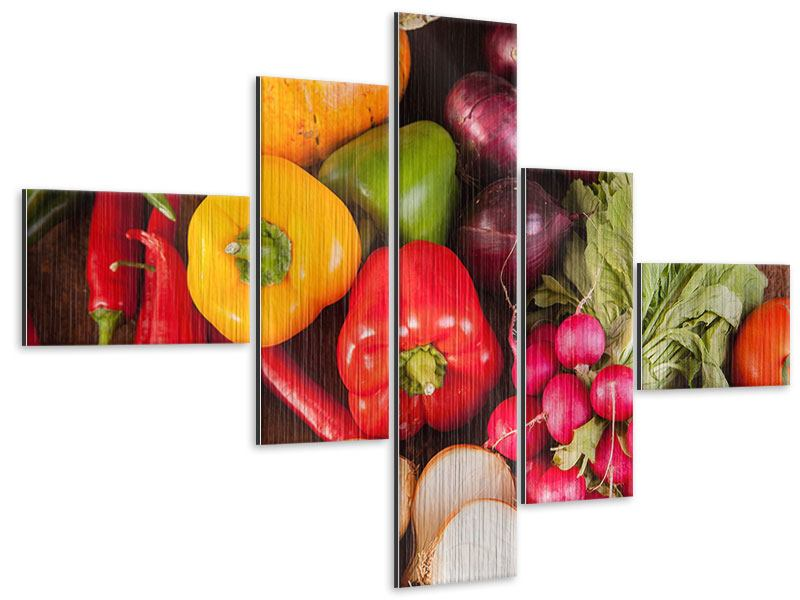 Modern 5 Piece Metallic Print Healthy Vegetables