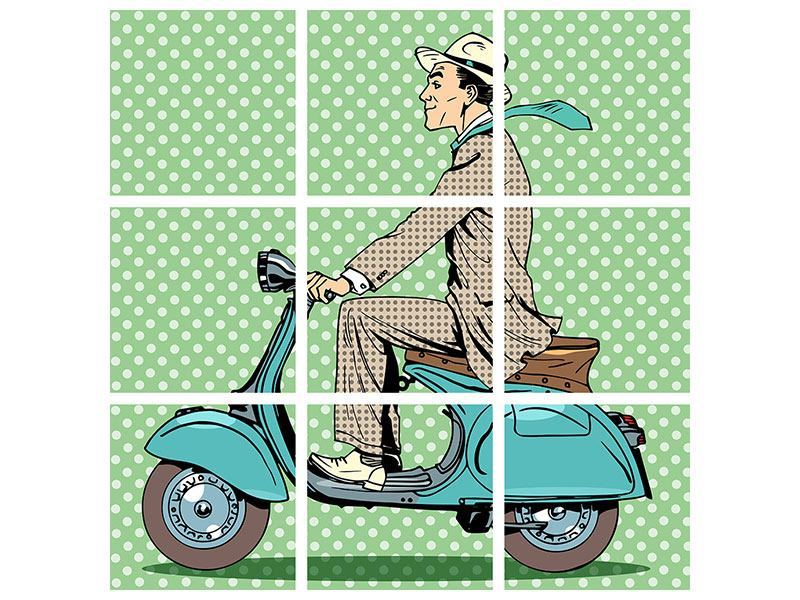 Alu-Dibond effet metallise en 9 parties Conducteur de Vespa Pop art