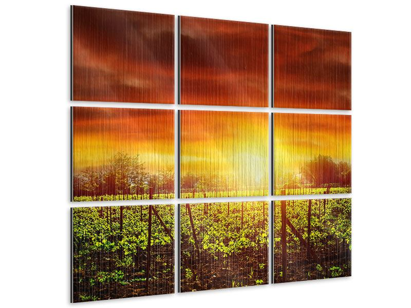 9 Piece Metallic Print The Vineyard At Sunset