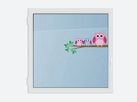 Window Sticker 3 cute owls