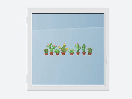 Window Sticker cactus family