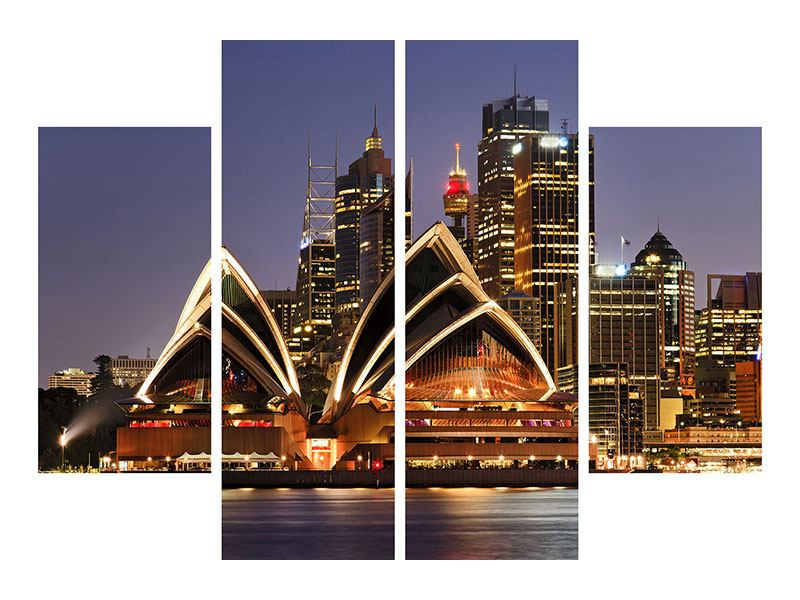 4 Piece Poster Skyline With The Boat In Front Of Sydney