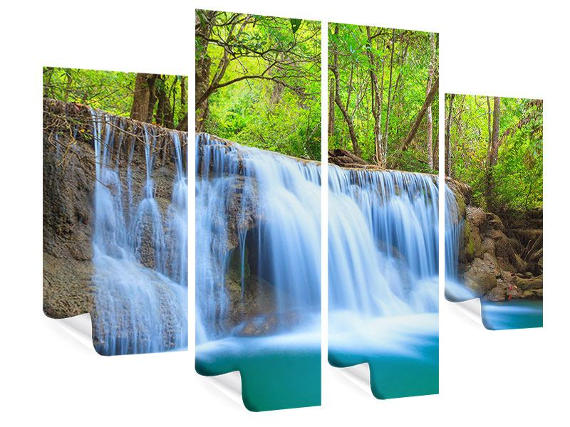 4 Piece Poster Waterfall Si Nakharin