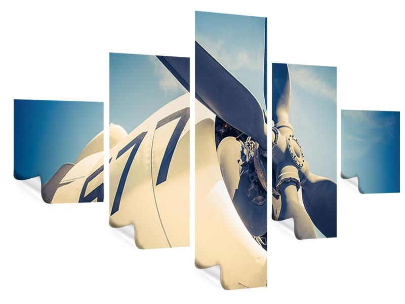 5 Piece Poster Close Up Propeller Plane