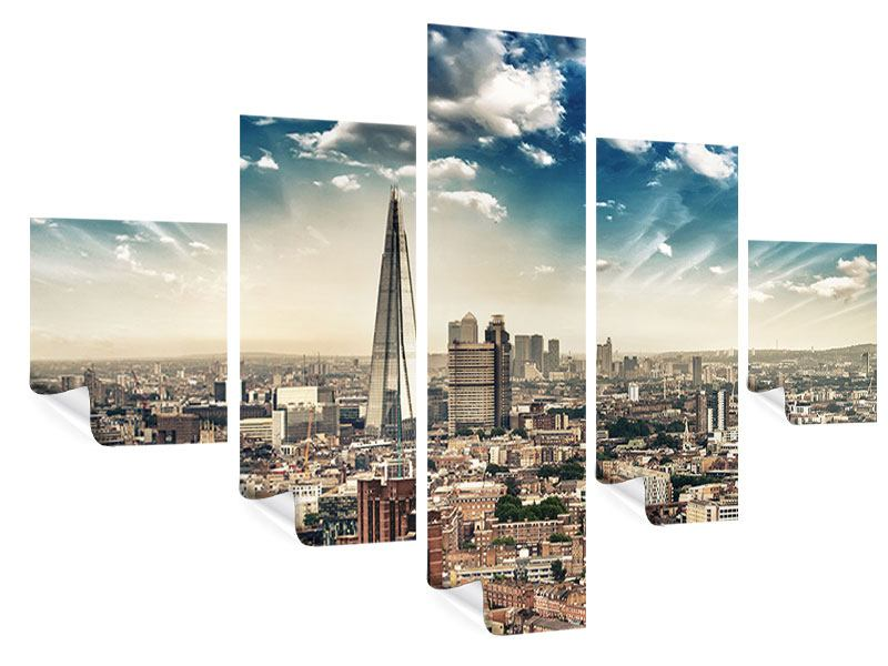 5 Piece Poster Skyline Over The Rooftops Of London