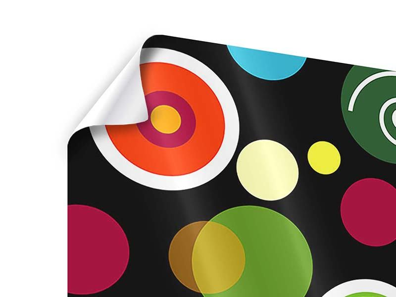 9 Piece Poster Colorful Retro Look Circles