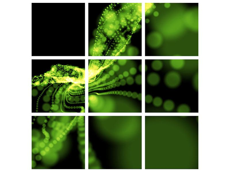 9 Piece Poster Green Play Of Lights.