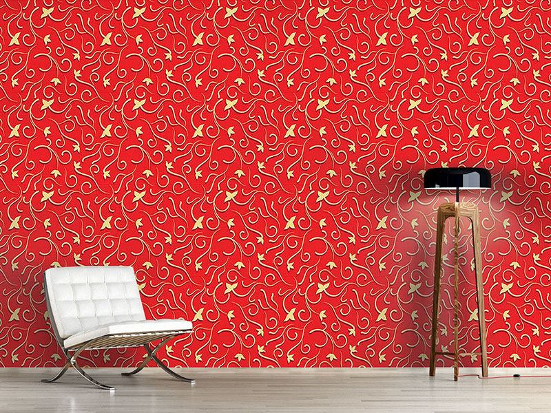 Papel tapiz de diseño Ivy in bold red