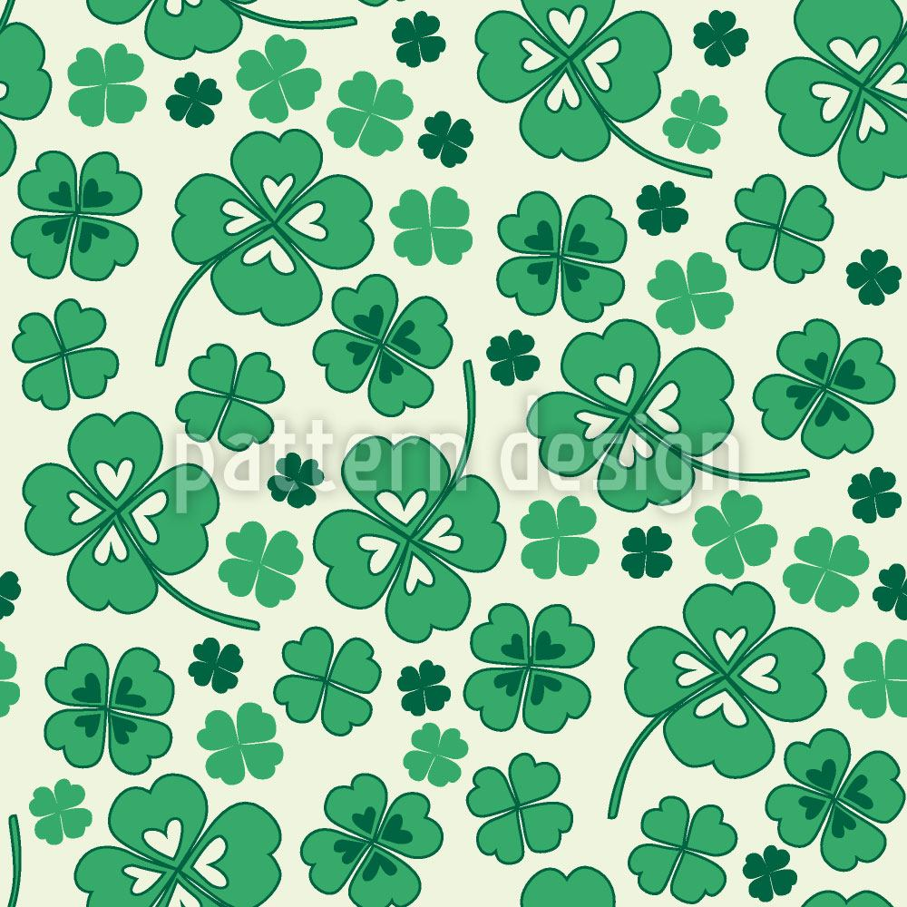Design Wallpaper Lucky Clover on White