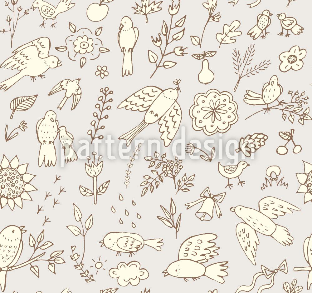 Carta da parati Spring Birds With Flowers