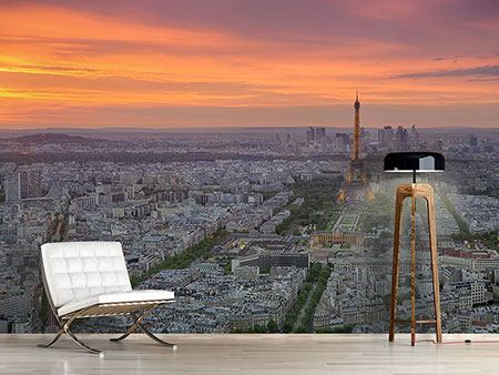 Photo Wallpaper Paris Skyline At Sunset